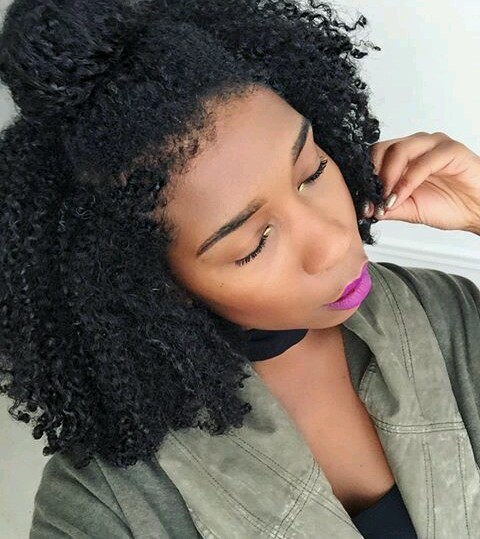 Curly half up half down hairstyle on natural hair